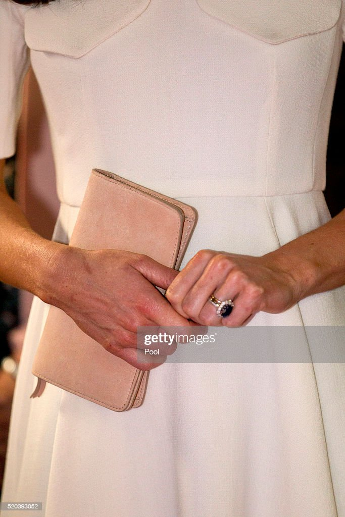 A detail of Catherine Duchess of Cambridge's handbag as she meets young entrepreneurs during a visit to Mumbai on April 11 2016 in Mumbai India