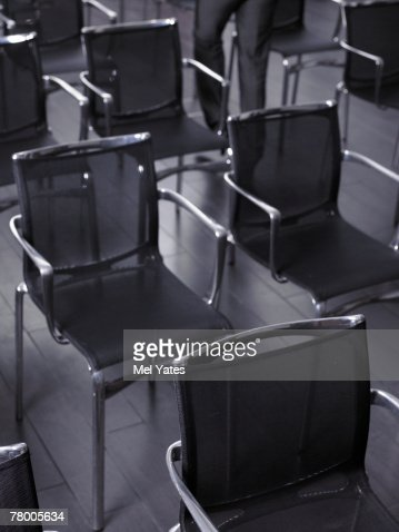 Detail of chairs in empty auditorium : Stock Photo