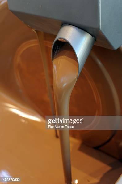 Detail of chocolate production in Belgian pavillion during the Milano EXPO 2015 at Fiera Milano at Fiera Milano Rho on May 6 2015 in Milan Italy