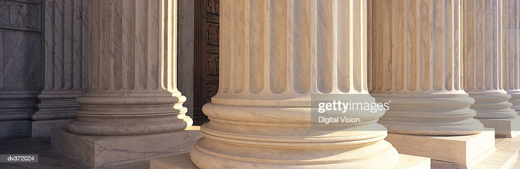 Detail of columns at the US Supreme Court, Washington DC : Stock Photo