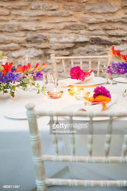 Detail of decorated table at wedding reception