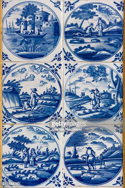 Detail of Delft tiles at the Pagodenburg, Schloss Nymphenburg