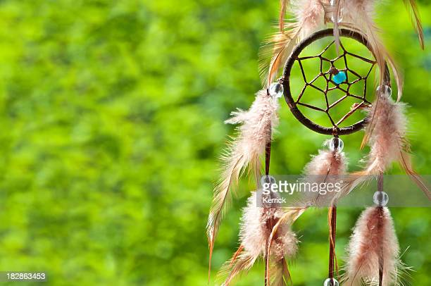detail of dreamcatcher in the evening