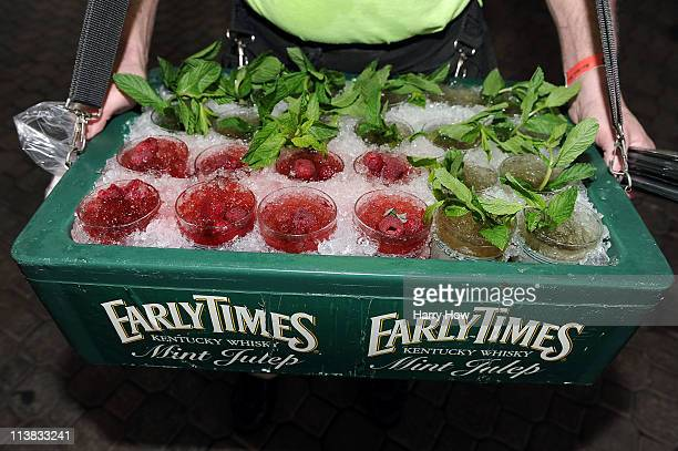A detail of drinks including Mint Juleps are seen in a vendor's try during the 137th Kentucky Derby at Churchill Downs on May 7 2011 in Louisville...