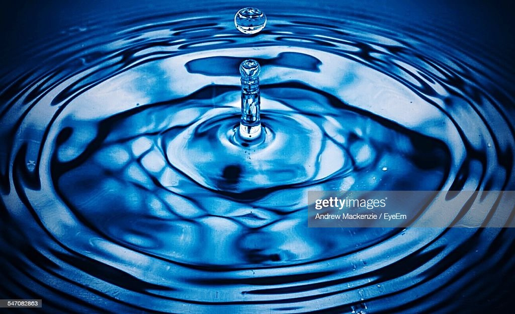 Detail Of Drop Falling In Water : Stock Photo