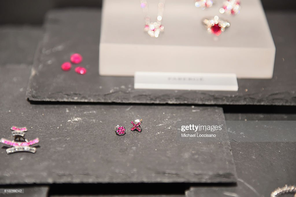 Detail of Faberge jewelry display at Fall 2016 New York Fashion Week on February 14, 2016 in New York City.