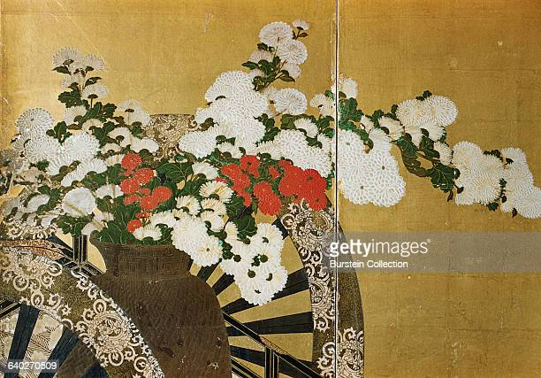 Detail of Flower Carts Edo Period Screen