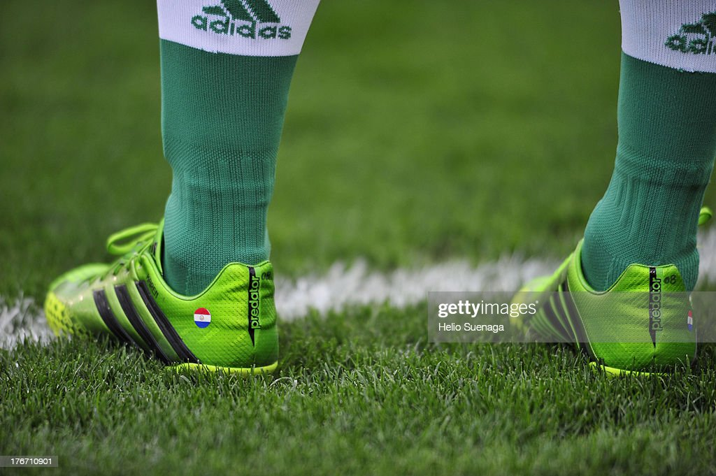 Detail of football boots during a match between Palmeiras and Paysandu as part of the Brazilian Championship Serie B 2013 at Pacaembu Stadium on August 17, 2013 in Sao Paulo, Brazil.