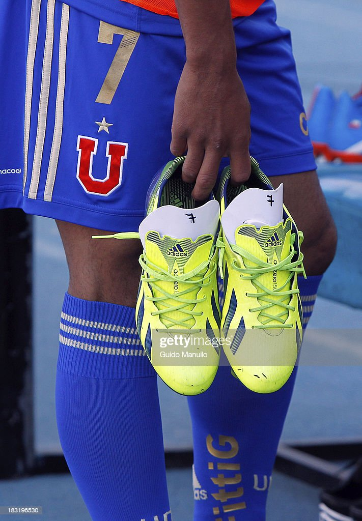 Detail of football shoes during a match between O'Higgins and U de Chile as part of the Torneo Apertura at National Stadium, on October 05, 2013 in Santiago, Chile.