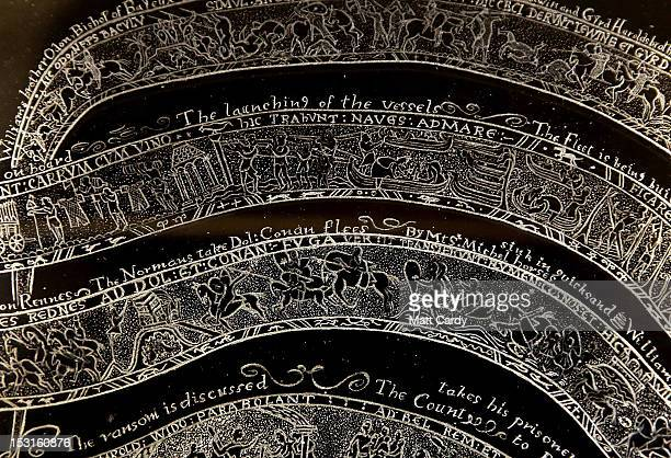 Detail of Frank Grenier's crystal glass dish which he has engraved with a recreation of the Bayeux Tapestry is seen on October 1 2012 in Glastonbury...