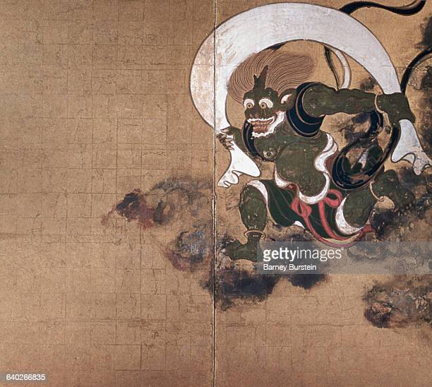 Detail of Fujin the God of Wind from Fujin Raijin Byobu by Sotatsu