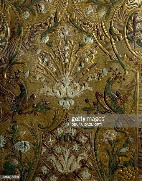 Detail of gilded leather upholstery in the Winter Hall Rosenholm Castle Jutland Denmark