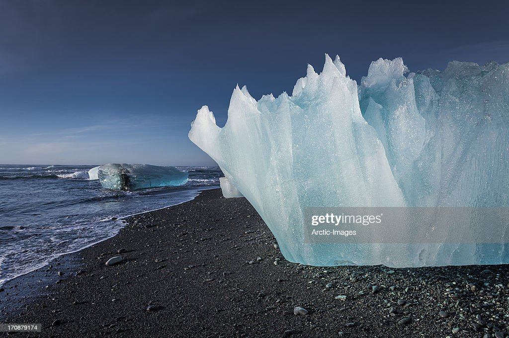 Detail of Glacial Ice on black sands, Iceland : Stock Photo
