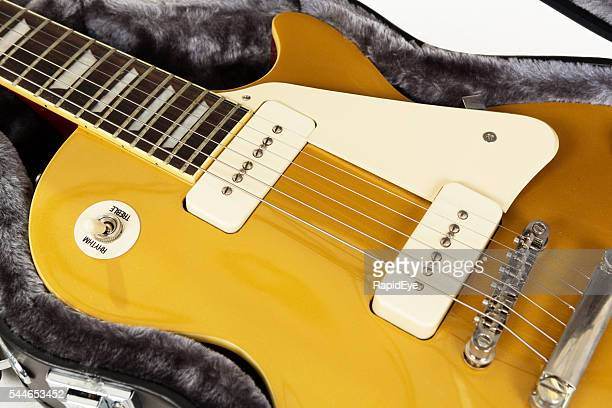 Detail of goldtop '56 Les Paul Pro electric guitar
