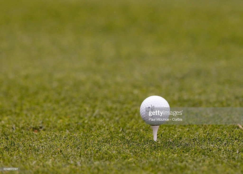 Detail of golf ball on tee during the second day of play at the Northern Trust Open held at Riviera Country Club