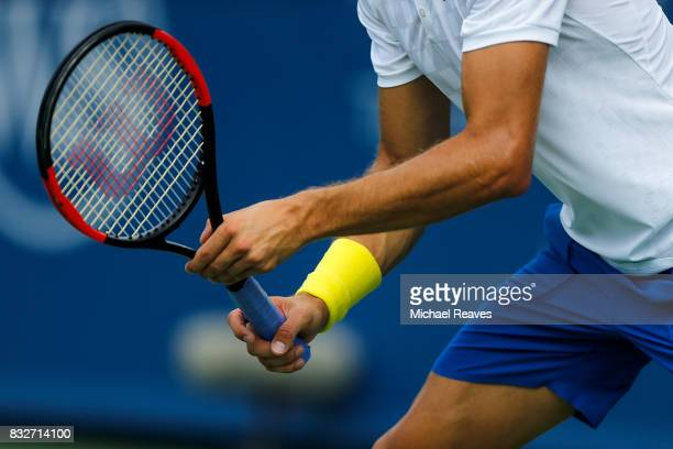 A detail of Grigor Dimitrov's racket against Feliciano Lopez of Spain on Day 5 of the Western and Southern Open at the Lindner Family Tennis Center...