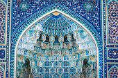 Detail of Gur-E Amir Mausoleum, the tomb of the Asian conqueror Tamerlane or Timur, in Samarkand, Uzbekistan