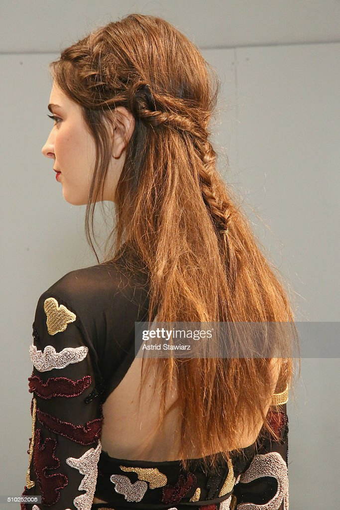 Detail of hair by TRESemme, backstage at the Rachel Zoe A/W16 Presentation during New York Fashion Week: The Shows at The Space, Skylight at Clarkson Sq on February 14, 2016 in New York City.