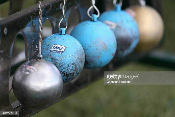 Detail of hammer throw equipment during day two of the IAAF World Junior Championships at Hayward Field on July 23 2014 in Eugene Oregon