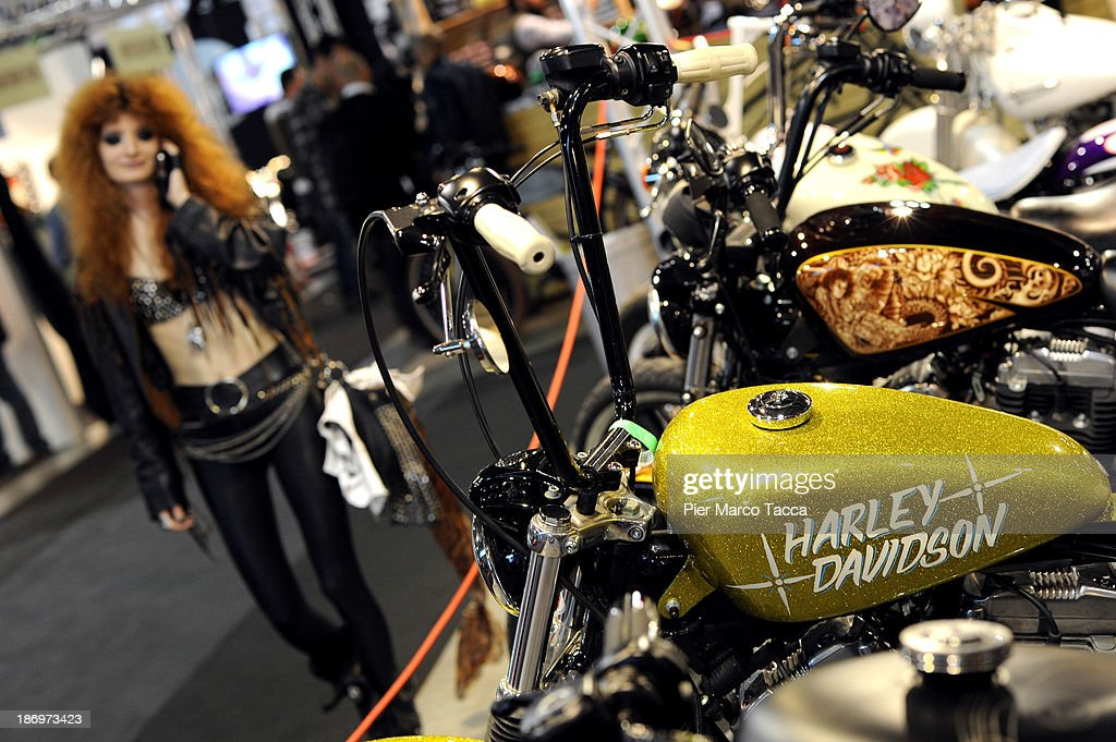 A detail of Harley Davison is displayed during the EICMA 2013 71st International Motorcycle Exhibition on November 5, 2013 in Milan, Italy.