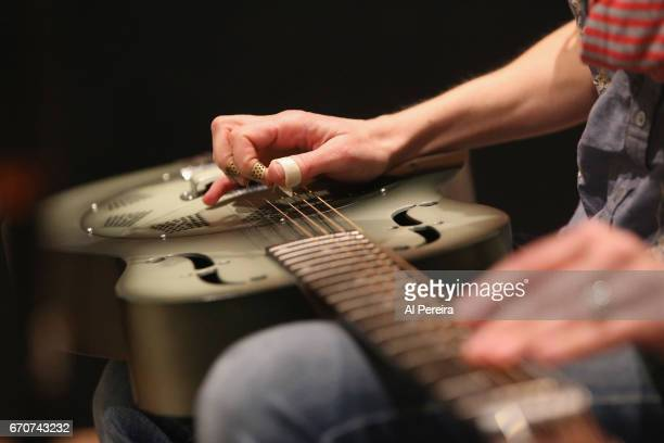 Detail of her hands on the dobro when Abbie Gardner records new material for her next release at Big Orange Sheep Studios on April 19 2017 in New...