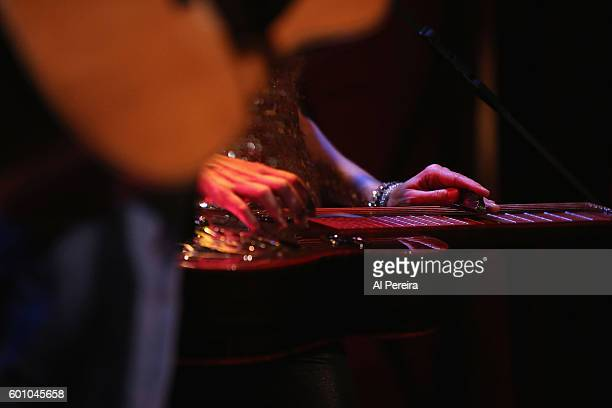 Detail of her hands playing slide on the Dobro when Abbie Gardner performs on 'The Joyful Noise Tour' at Rockwood Music Hall on September 8 2016 in...