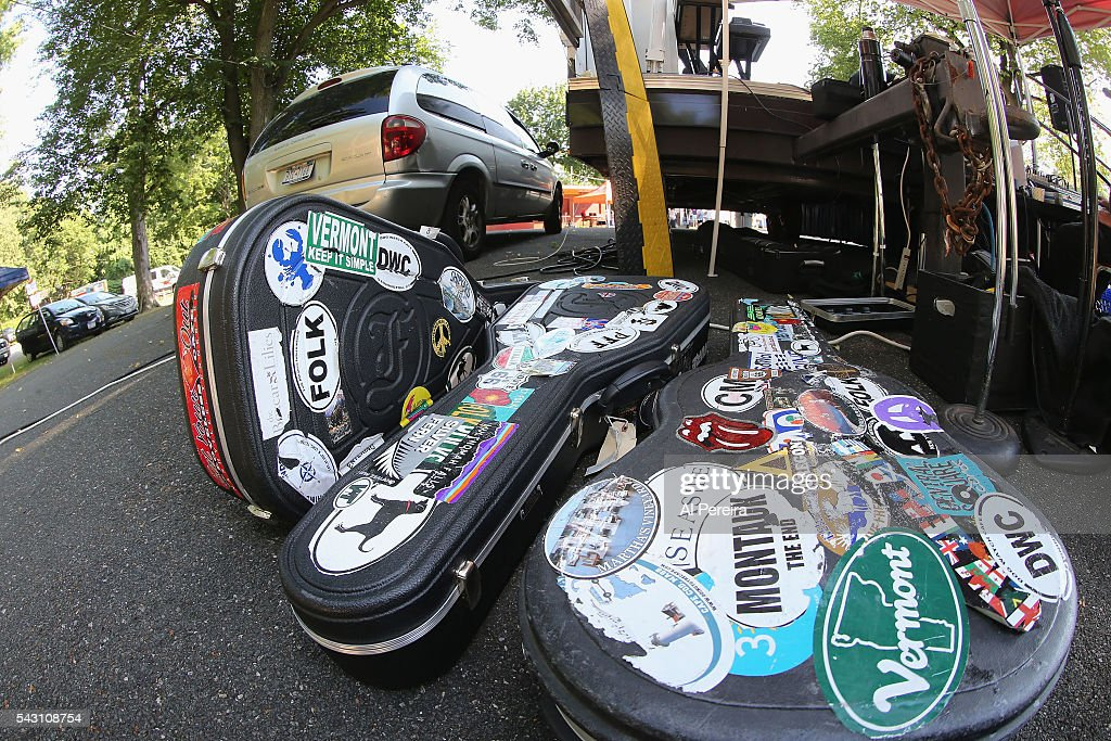 Detail of his guitar cases when Jesse Terry peforms at Day One of the Rockland-Bergen Music Festival at German Masonic Park on June 25, 2016 in Tappan, New York.