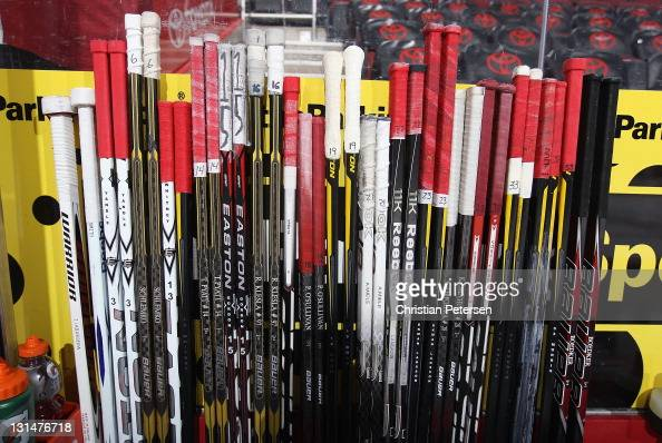 Detail of hockey sticks before the NHL game between the Nashville Predators and the Phoenix Coyotes at Jobingcom Arena on November 3 2011 in Glendale...