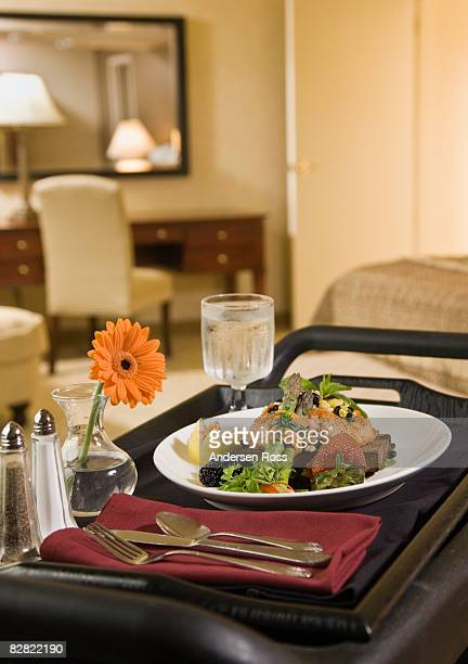 Detail of hotel room service food