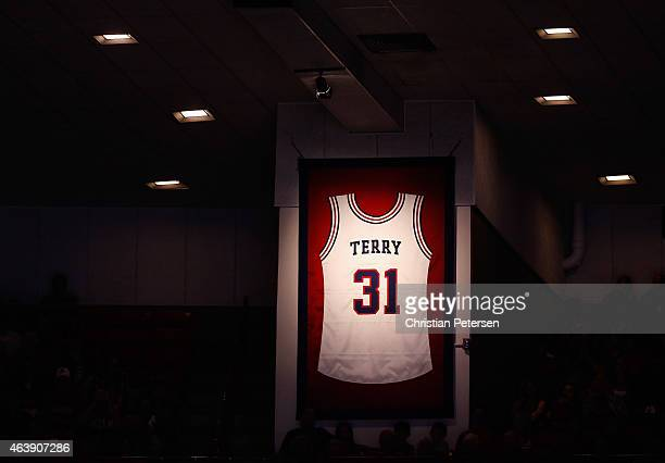 Detail of Jason Terry's jersey hanging after his number was retired by the Arizona Wildcats during a halftime ceremony in the college basketball game...
