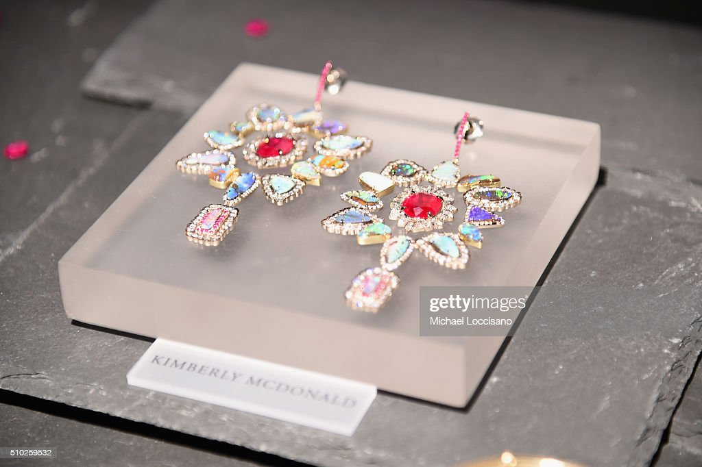 Detail of jewelry on display by Kimberly McDonald at Fall 2016 New York Fashion Week on February 14, 2016 in New York City.