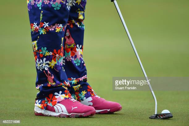 Detail of John Daly of the United States' outfit during a practice round prior to the start of The 143rd Open Championship at Royal Liverpool on July...