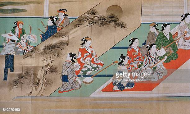 Detail of 'Kabuki Entertainers' by Miyagawa Choshun