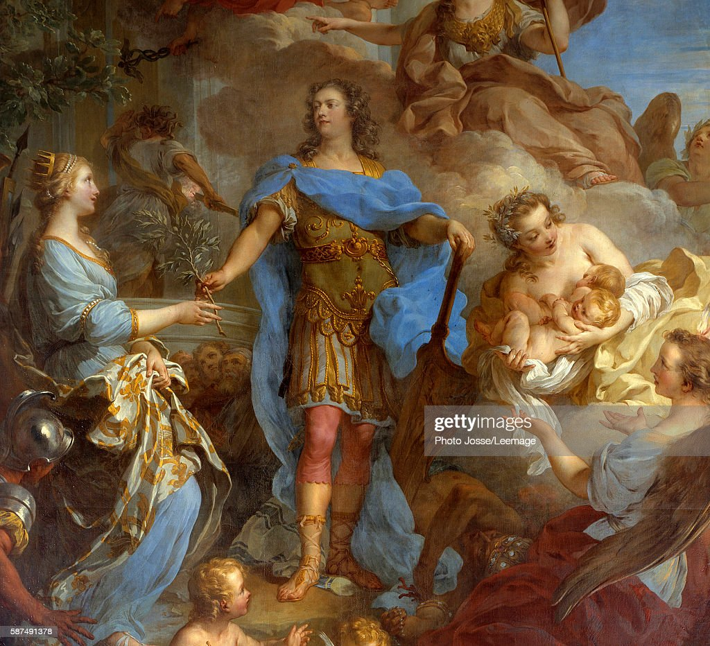 Detail of King Louis XV bringing peace to Europe Allegory at the time of the Treaty of Seville the goddess Minerva is represented Painting by...