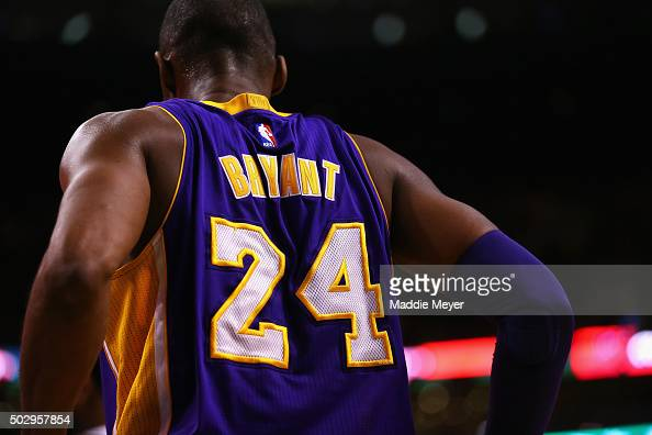 A detail of Kobe Bryant of the Los Angeles Lakers' jersey during the second quarter against the Boston Celtics at TD Garden on December 30 2015 in...