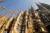 Detail of La Sagrada Familia, Barcelona, Spain, low angle view