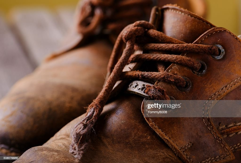 Detail of laces on leather shoes : Stock Photo