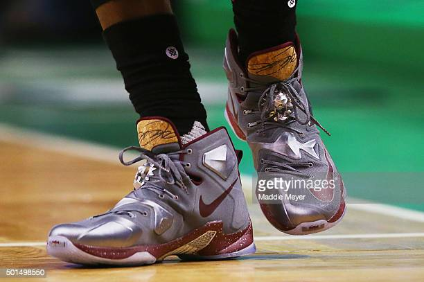 A detail of LeBron James of the Cleveland Cavaliers' shoes during the second quarter against the Boston Celtics at TD Garden on December 15 2015 in...