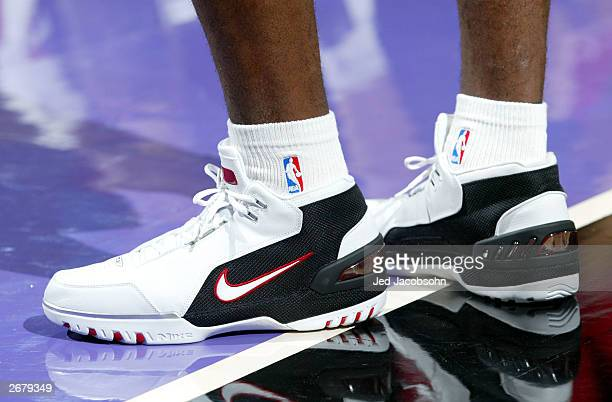A detail of Lebron James shoes of the Cleveland Cavaliers before his first game against the Sacramento Kings during an NBA game at Arco Arena October...