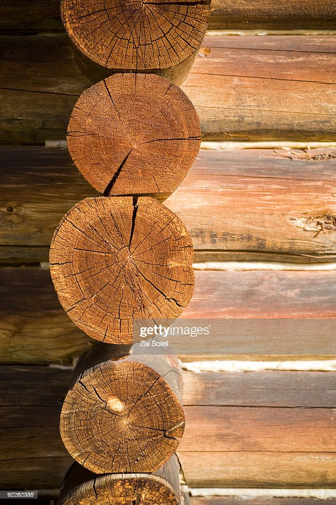 detail of log cabin walls, exterior : Stock Photo