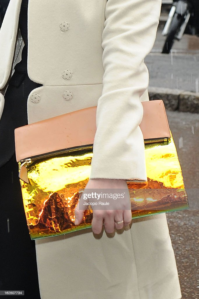 A detail of <a gi-track='captionPersonalityLinkClicked' href=/galleries/search?phrase=Lou+Lesage&family=editorial&specificpeople=5692705 ng-click='$event.stopPropagation()'>Lou Lesage</a> is seen as she attends the Emporio Armani fashion show as part of Milan Fashion Week Womenswear Fall/Winter 2013/14 on February 24, 2014 in Milan, Italy.