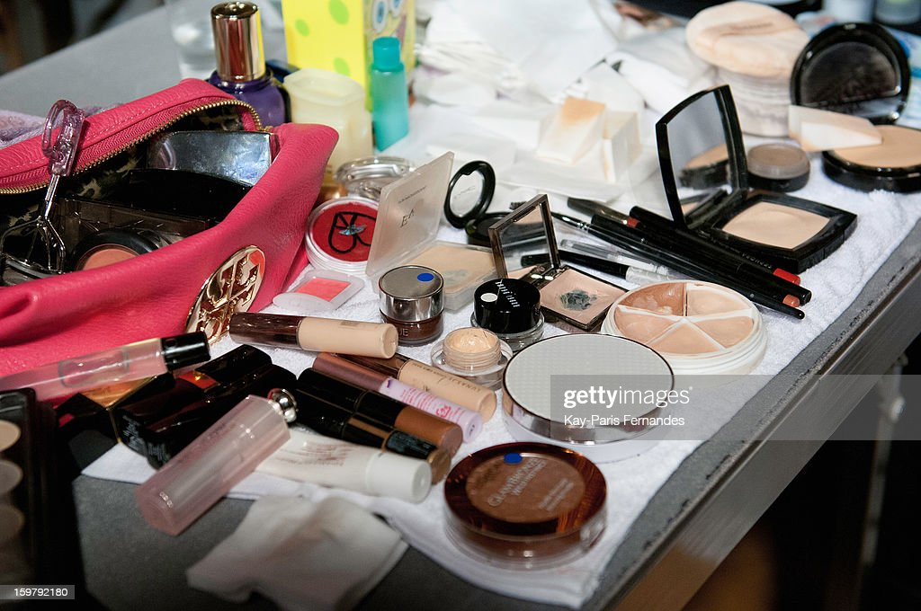 Detail of make-up backstage during the Rynshu Men Autumn / Winter 2013 show as part of Paris Fashion Week on January 20, 2013 in Paris, France.