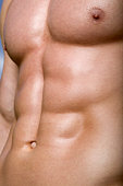 Detail of man's stomach, close-up