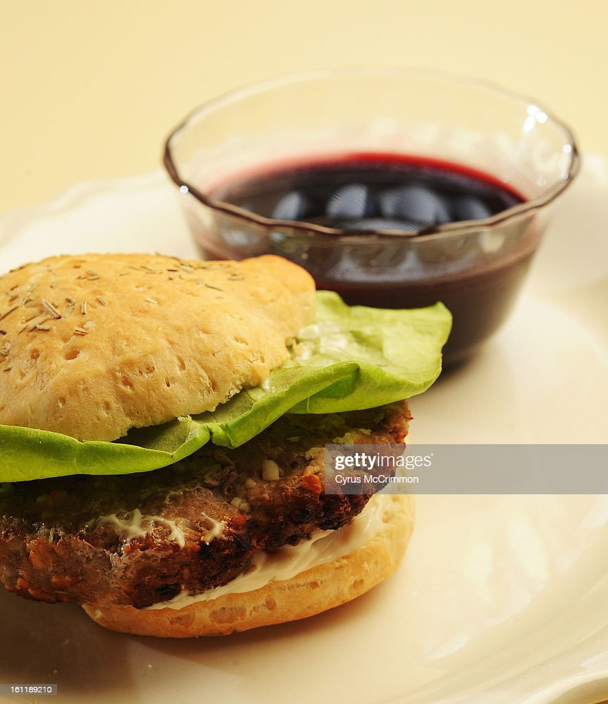 Detail of Margaret Martinez's 'Savory Turkey Burger with Pomegranate Molasses,' which is a finalist in the Dinner Made Easy category in the Pillsbury Bake-Off. Photographed in Martinez's kitchen at her Westminster home on Tuesday, March 13, 2012. Cyrus McCrimmon, The Denver Post