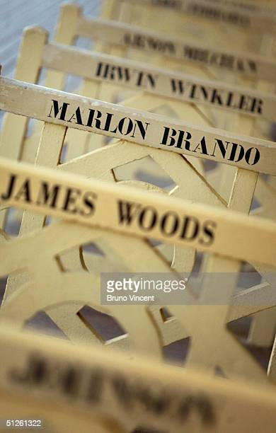 A detail of Marlon Brando's name is seen printed on one of the beach huts that line the beach at the 30th Deauville American Film Festival on...
