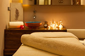 Massage room ready for customer focus on towel for brand