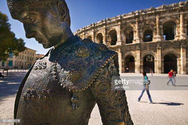 Detail of Matador Statue Outside Arena of Nimes