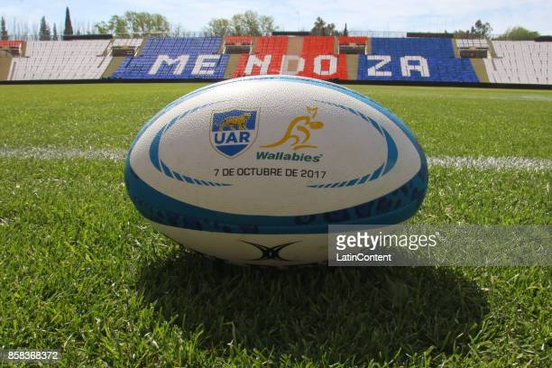 Detail of matchball during the Australia Rugby Championship Captain's Run ahead of the match against Argentina at Islas Malvinas Stadium on October...
