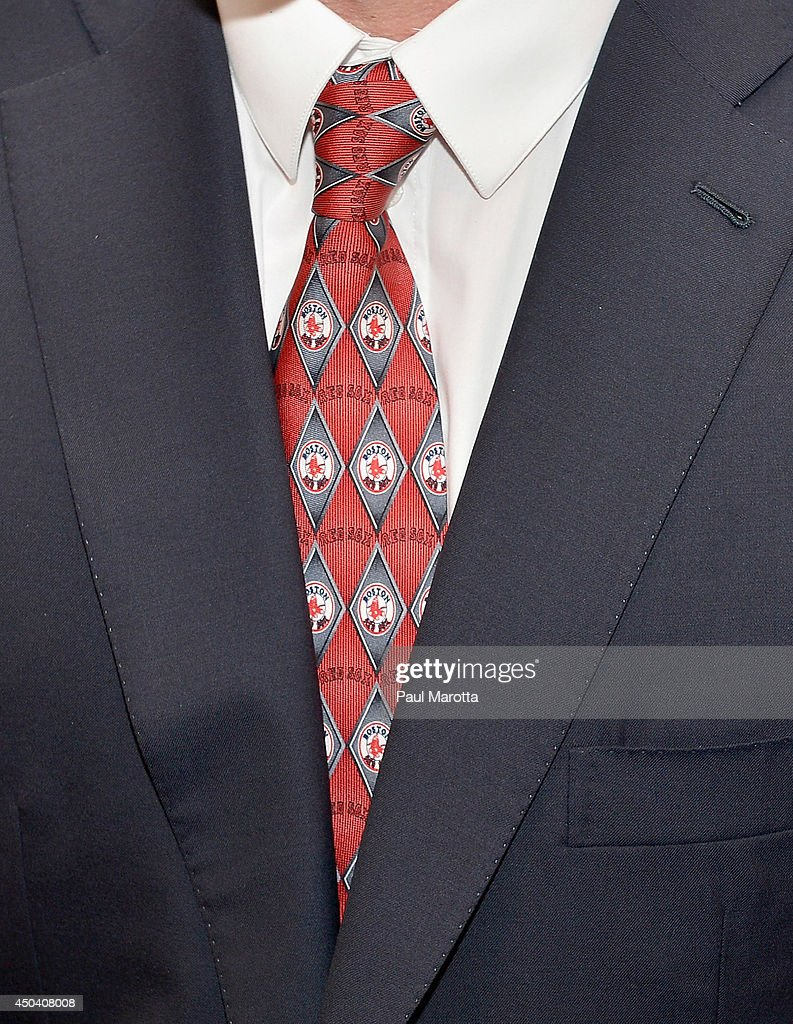 Detail of Matt Damon's Boston Red Sox tie at the Mass General Hospital Cancer Center's 7th annual the one hundred Event at the Westin Boston Waterfront Hotel on June 10, 2014 in Boston, Massachusetts.