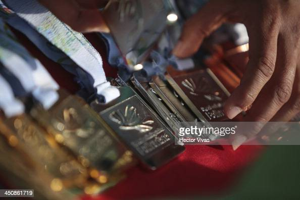 Detail of medals during a Tennis match as part of the XVII Bolivarian Games Trujillo 2013 at Luz Marina Neyra Coliseum on November 20 2013 in...